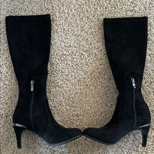 BCBGenerations black faux suede knee high boots